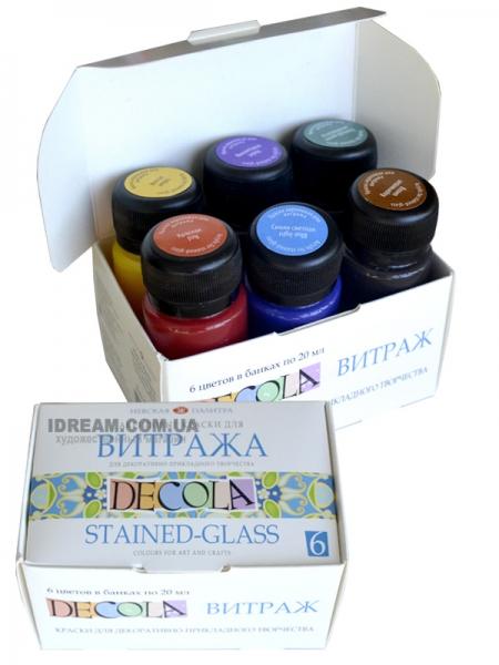Набор витражных красок DECOLA на водной основе, 6 цветов по 20мл
