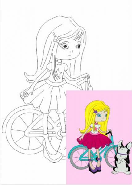 Раскраска на холсте Девочка с собачкой 20*30
