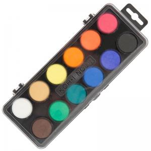 Краски акварельные в пластиковом пенале 12 цв (черн)