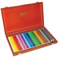 Карандаши цветные художественные POLYCOLOR деревянный пенал 36 шт.
