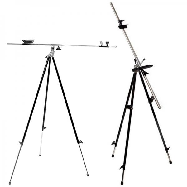Мольберт-тренога 15131 металлическая, черная (92х92х203см) + сумка с ремешком, высота полотна до 78с
