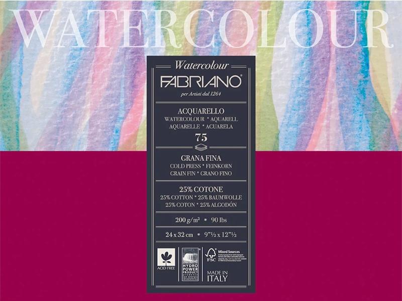 Склейка-блок для акварели Watercolor A4 (24х32см), 200г/м2, 20л, среднее зерно, Fabriano