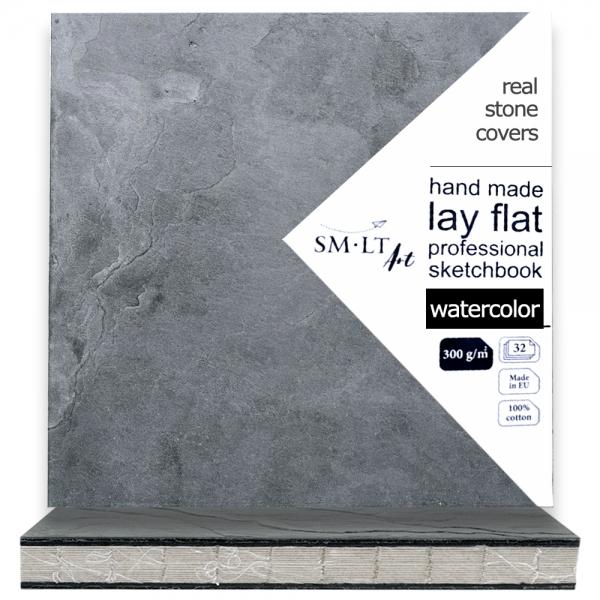 Блокнот для акварели PRO Stonebook 19,5*19,5см, 300г/м2 32л 100% хлопок SMILTAINIS