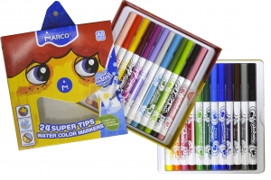 Фломастеры Marco Ultra Washable смываемые, 24 цвета