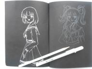 Блокнот A5 (14,8*21см) Rosa 96 черных листов 80 г/м2 + гелевая ручка Sakura белая