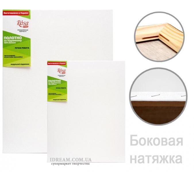Холст на подрамнике, мелкое зерно, хлопок (БОКОВАЯ натяжка)