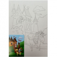 "Холст на картоне с контуром ""Принцесса в башне"" 20*30 см хлопок ROSA START"