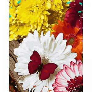 Картина по номерам BrushMe 40*50см Бабочка на герберах (GX32864)