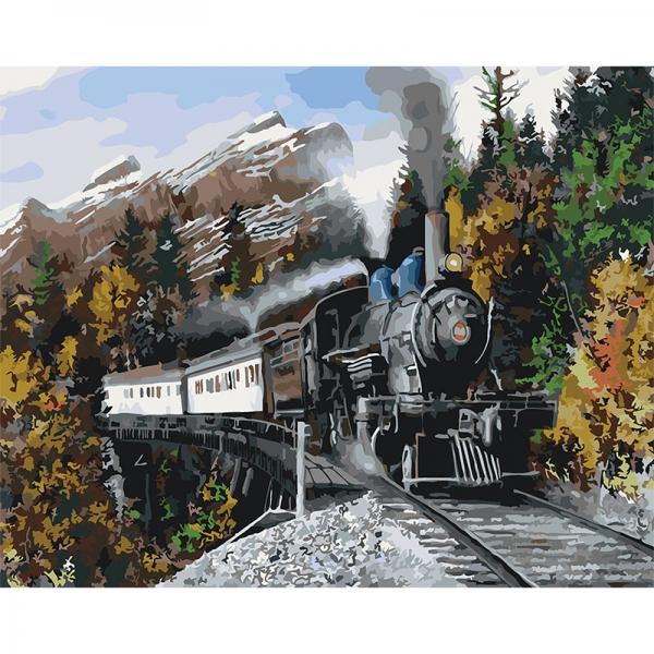 Картина по номерам Идейка 40*50 см Скорый поезд (КНО2511)