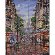 Картина по номерам Идейка 40*50 см По улицам вечернего Парижа (КНО3516)