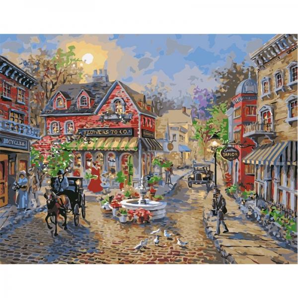 Картина по номерам Идейка 40*50 см Старинный городок (КНО3526)