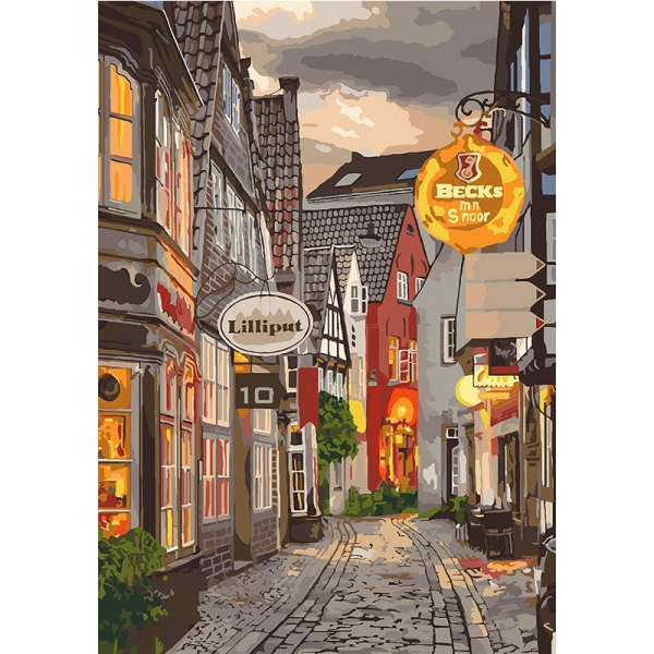 Картина по номерам Идейка 35*50 см Уютный переулок (КНО3548)