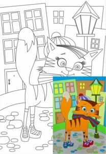 Раскраска на холсте Кот на прогулке 20*30