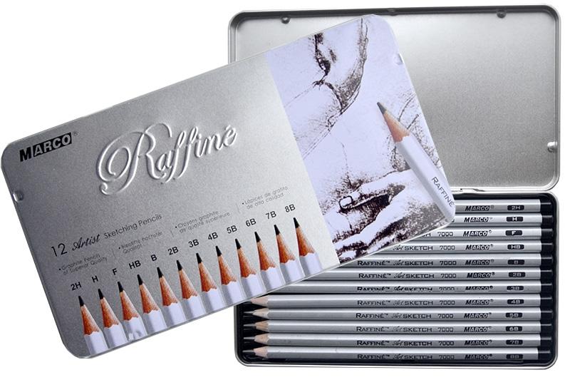 Набор графитных карандашей Marco Raffine в металлическом пенале для рисунка (2H-8B), 12 шт