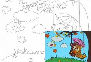 Раскраска на холсте Мишки на качелях 20*30
