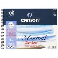 Альбом для акварели на спирали Canson Montval Torchon Bloc 12л 270 г/м 41х32см