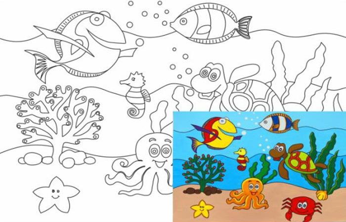 Раскраска на холсте Морской мир 20*30