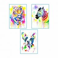 """Набор для акварельной живописи """"Животные"""", 3 картины"""