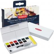 Набор акварельных красок Inktense Derwent Paint Pan Travel №1, 12 цв+кисть с резервуаром  (2302636)