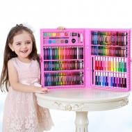 Набор для рисования Leonardo 168 предметов на подарок ребенку (Розовый)