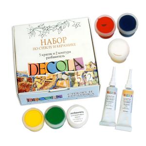 Акриловые краски Deсola по стеклу и керамике 5 цветов + контур и растворитель