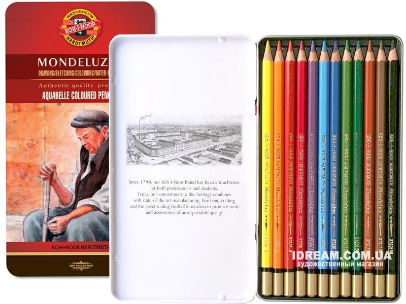 Набор акварельных карандашей Koh-i-Noor 3722 Mondeluz металл, 12 цветов