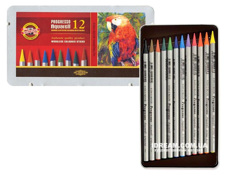 Набор акварельных карандашей Koh-i-Noor 8782 Progresso металл, 12 цветов