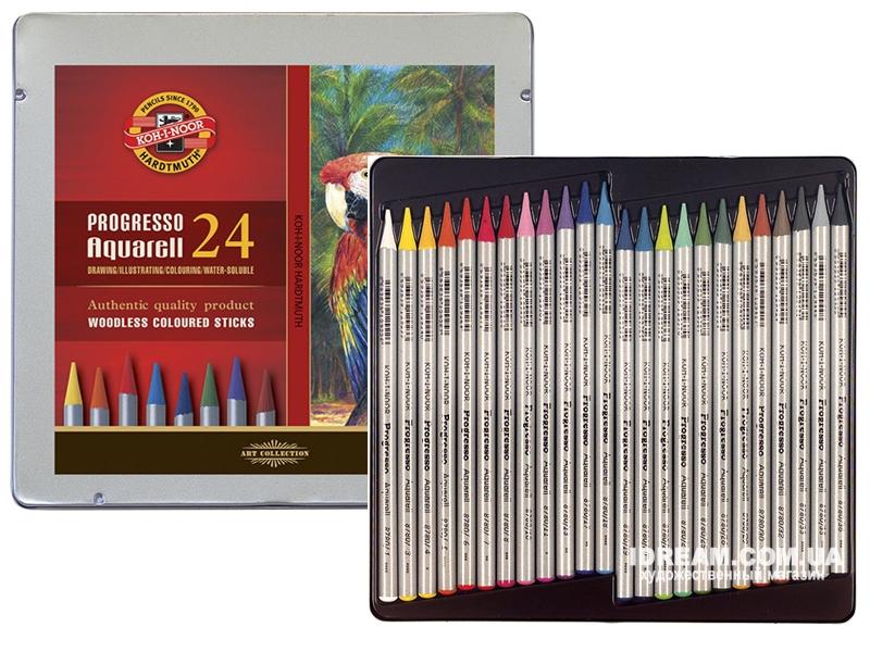 Набор акварельных карандашей Koh-i-Noor 8784 Progresso металл, 24 цвета