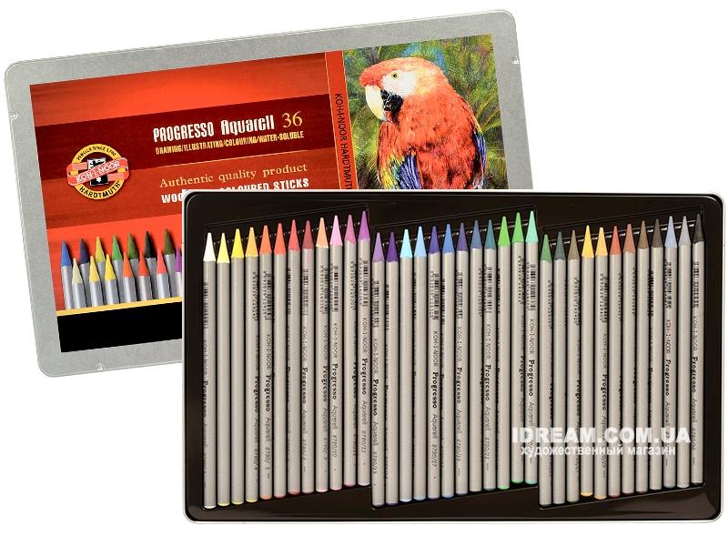 Набор акварельных карандашей Koh-i-Noor 8785 Progresso металл, 36 цветов
