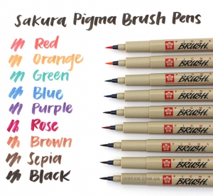 Кисть лайнер, кисточки, Sakura PIGMA Brush, кисти линеры цветные, 9 цветов