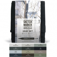 Набор маркеров SKETCHMARKER BRUSH Grey set, 12 цветов