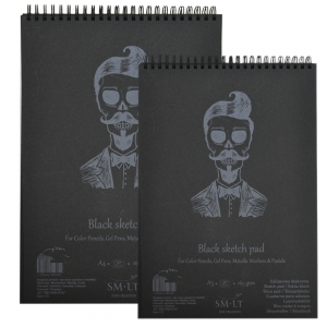 Альбом для графики SMILTAINIS AUTHENTIC черная бумага 20л 165г/м2