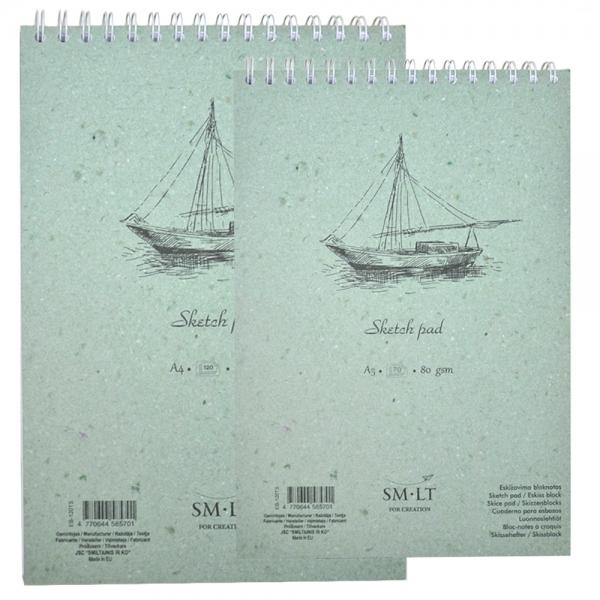 Альбом для эскизов белая бумага SMILTAINIS AUTHENTIC 80г/м2