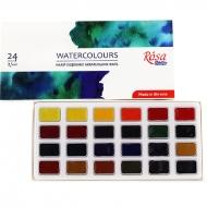 Набор акварельных красок ROSA Studio 24 цв, кювета, картон  (340324)
