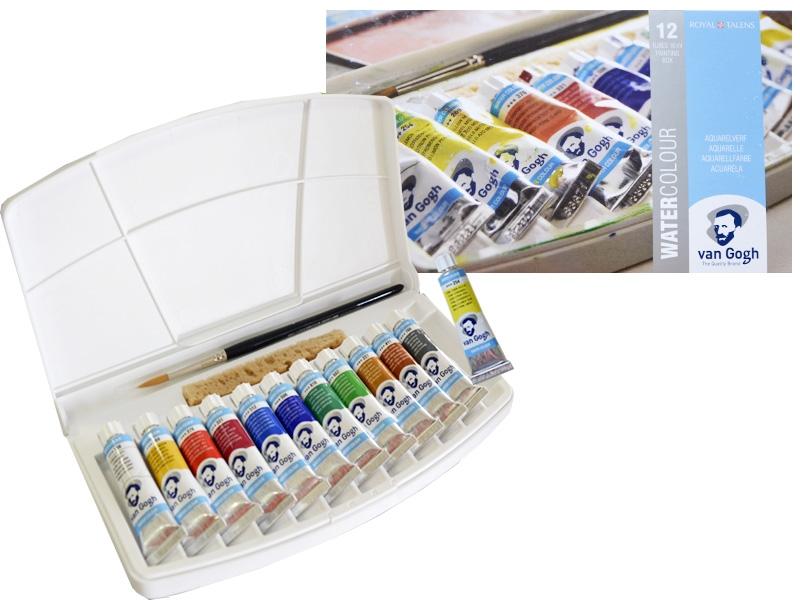 Краски акварельные VAN GOGH 12 цветов + кисть в пластике, 10 мл
