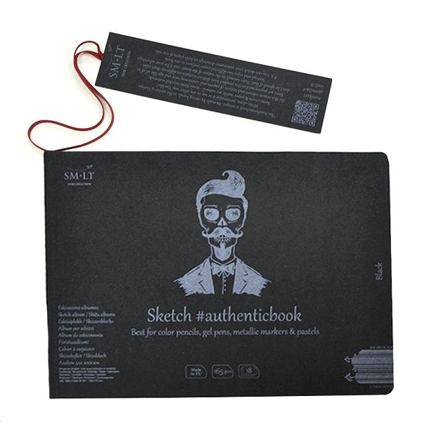 Чёрная бумага, альбом для рисунка AUTHENTIC А5 165г/м2 18л